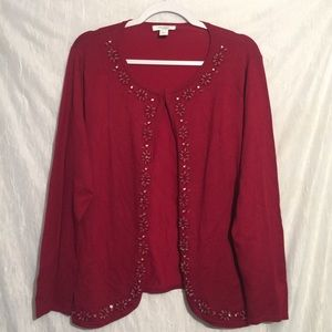 Dress barn 14/16 red beaded cardigan plus